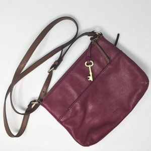 Fossil Magenta Pink Leather Crossbody Bag